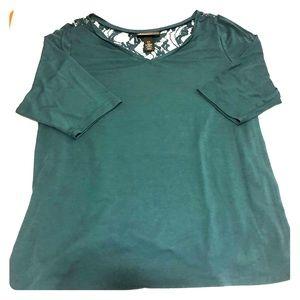 EUC 3/4 Sleeve Lace Back Shirt